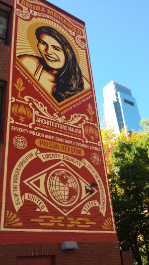 The Stamp of Incarceration: Amira Muhammad, a mural by Shepard Fairey at Friends Center