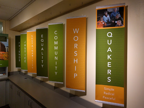 Photographs of new displays in Friends Center lobby
