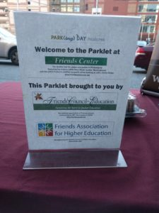 Flyer that says welcome to Parking Day parklet at Friends Center