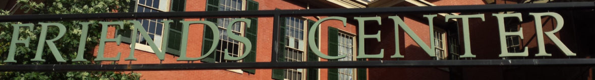 "Image of the words ""Friends Center"" on the entrance gate"