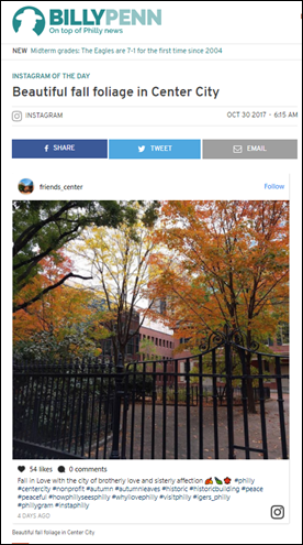 Billy Penn news website chooses Friends Center post as Instagram of the Day