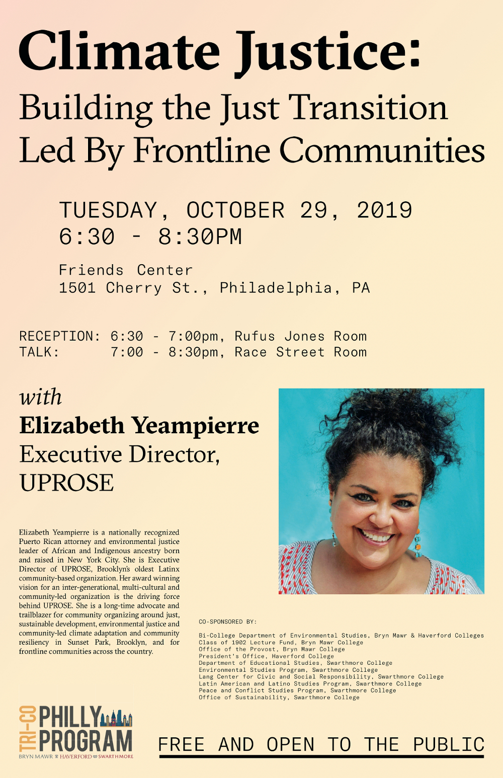 Flyer for talk by Elizabeth Yeampierre on Climate Justice at Friends Center, October 29, 2019